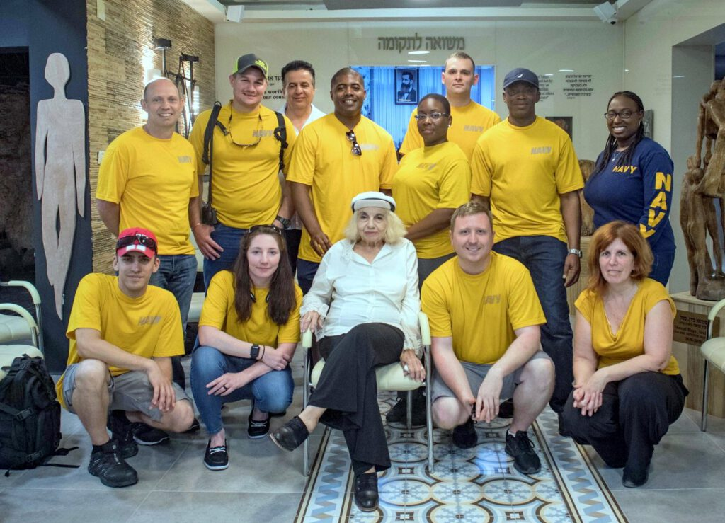 "Sailors of the US 6th Fleet Destroyer visit the ""Warm Home for Holocaust survivors"""