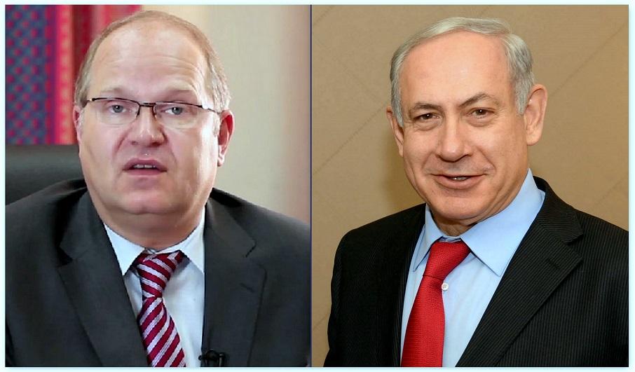 """מימין ראש ממשלת ישראל בינימין נתניהו ומשמאל מנכ""""ל השגרירות הנוצרית הבינלאומית בירושלים הד""""ר יורגן בולר"""